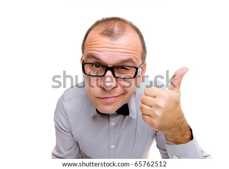Funny businessman showing sign of approval isolated on white background