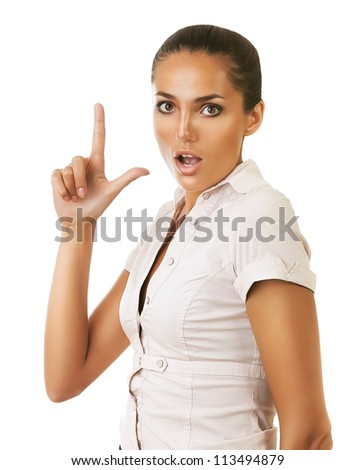funny businesswoman showing gun gesture on white background