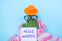 Funny cactus with hat, glasses, scarf and words Hello Winter on the blue background.