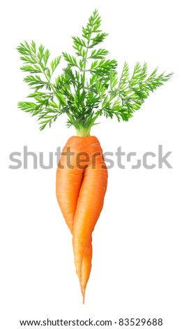 "Funny carrot with two ""legs"" isolated on white"