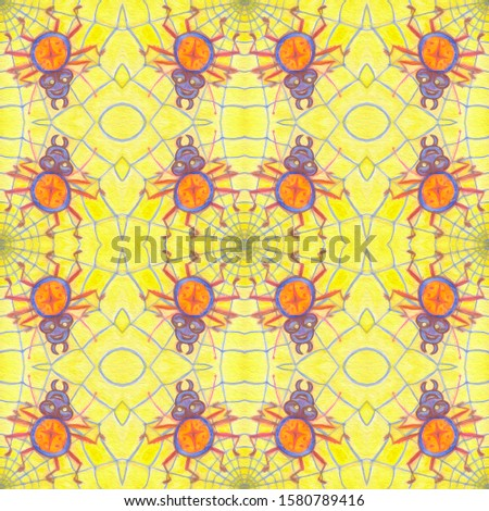 Funny cartoon caricatures of spiders on yellow background. Seamless pattern