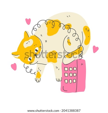 Funny cartoon cat with vintage phone wiating for a call. Modern flat style pet  illustration Zdjęcia stock ©