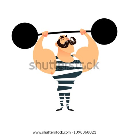 Funny cartoon circus strong man. A strong muscular athlete lifts the barbell. Retro sportsman with a mustache. Flat guy character with heavy metal barbell. Bodybuilder