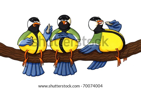 Funny Cartoons Birds Funny Cartoon Drawing of Three