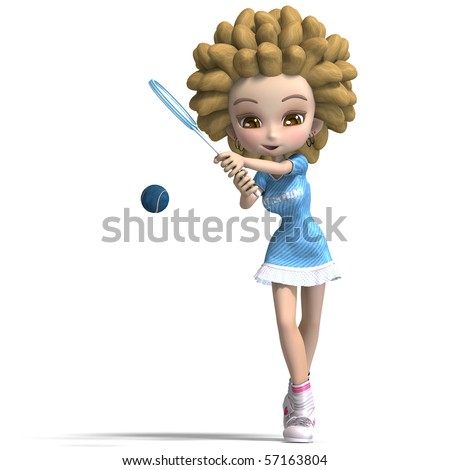 stock photo : funny cartoon girl with curly hair plays tennis.