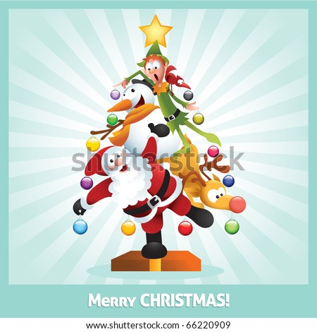 Funny cartoon illustration of santa claus, elf, Reindeer, snowman and red bird posing together as a Christmas tree - raster version.