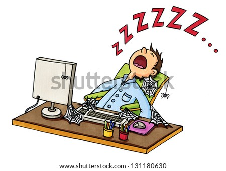 Stock Photo Funny cartoon image of a man fallen asleep in front of the computer