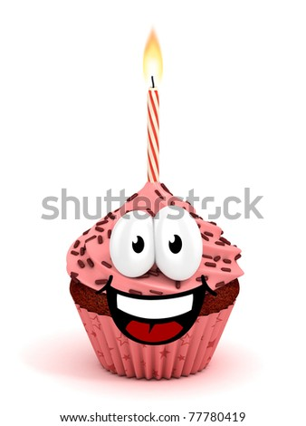 funny cartoon like cupcake 3d rendering