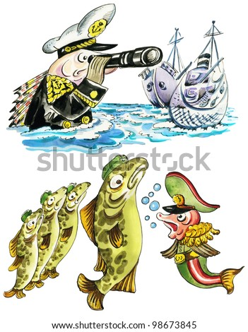 Funny cartoon military fishes in navy uniform. Isolated on white.
