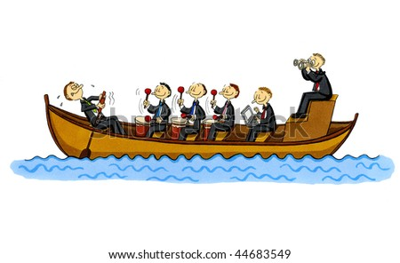 Funny cartoon of a rowboat with a single rowing employee and four managers who control him