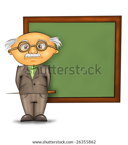 funny cartoon professor standing by the blackboard against white background