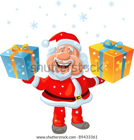 funny cartoon Santa Claus holding a gift