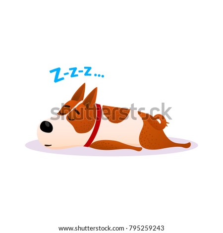 Funny cartoon sleeping dog portrait. Cute dozing flat character. Happy resting puppy of terrier isolated on white background. Napping doggy wearing red collar. Colorful raster illustration.