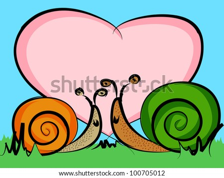 Funny cartoon snails in love with a big heart with room for your text, perfect valentine's day card or other celebration event.