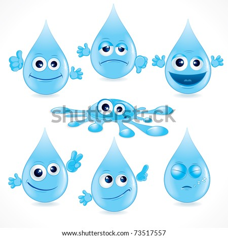 Funny Cartoon Water Drops - illustration ( eps version please see at my gallery )