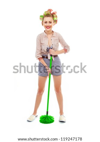 Funny cheerful smile housewife / girl with broom, isolated on white. Full length / total shot of domestic woman