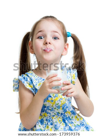 funny child girl drinking yogurt or kefir
