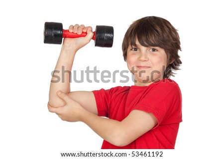 Funny child playing sports with weights isolated on white background