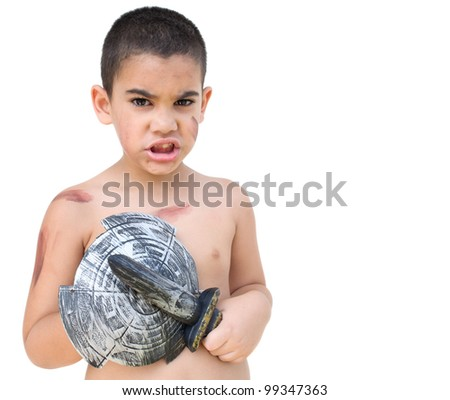 Funny child playing to be a gladiator or an ancient soldier isolated on a white background