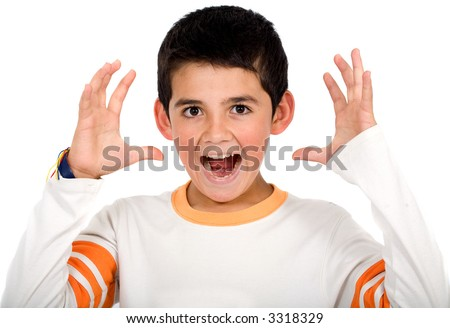 Funny child portrait – boy stressed out isolated over a white background