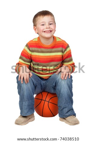Funny child with a basketball isolated on white background - stock photo