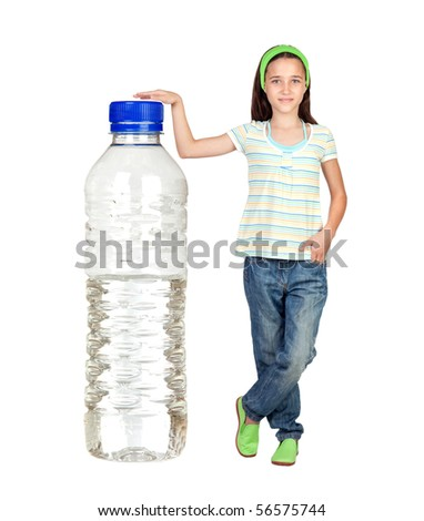 Funny child with a big water bottle isolated on white background