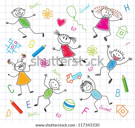 Funny Children. Colorful Background.