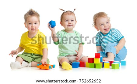 Funny children group playing colorful toys isolated #752652652
