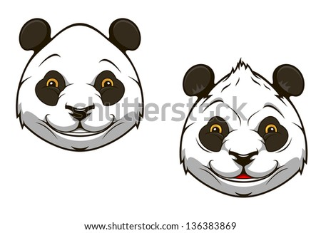 Funny chinese panda bear head for mascot design. Vector version also available in gallery