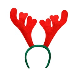 Funny Christmas antlers of a deer isolated on white background
