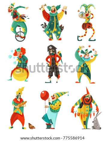 Funny circus clowns isolated decorative icons set in color with trick cycle pirate costume and balloon  illustration