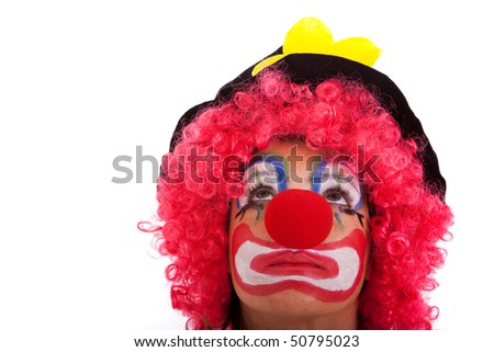 funny clown looking to the copyspace (isolated on white)