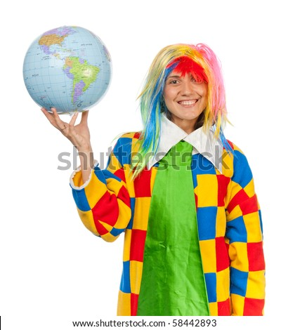 Funny clown with globe ball