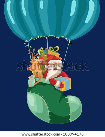 Funny Color Christmas background with hot air balloon with Santa Claus and deer, retro cartoon illustration