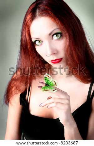 funny colored girl with butterfly