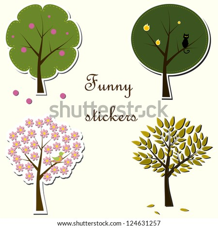 Funny colorful stickers with 4  beautiful trees (raster illustration)