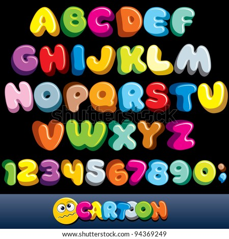 Funny Comics Font. Cartoon Alphabet with All Letters and Numbers