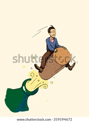 funny concept - a man flying on the cork, businessman is celebrating JPG
