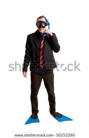 Funny concept of a businessman with a scuba mask isolated on white