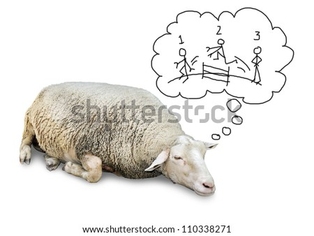 Funny concept of cute sheep with lots of wool, isolated on white counting hand drawn human stickfigures jumping over a fence to fall asleep.