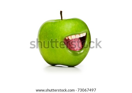 Funny concept with apple and open mouth