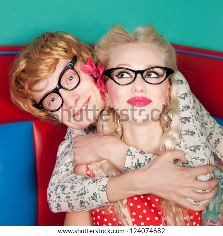 Funny couple embracing