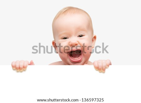 funny cute baby with white blank banner in hand isolated - stock photo