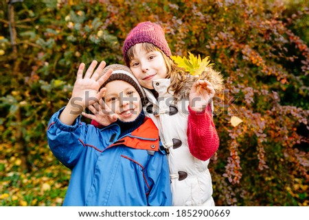 Funny cute little boy and girl waving hands, embracing in autumn park, happy cheerful kids brother with sister having fun together looking at camera outdoor, children siblings portrait Stockfoto ©