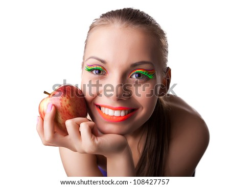 funny cute woman portrait with red apple