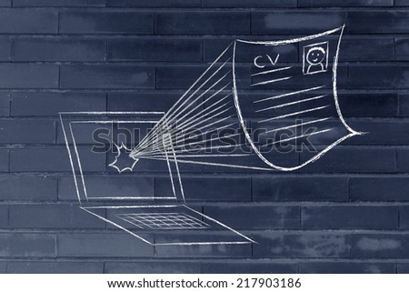 funny cv document exploding out of a computer screen, get your cv noticed