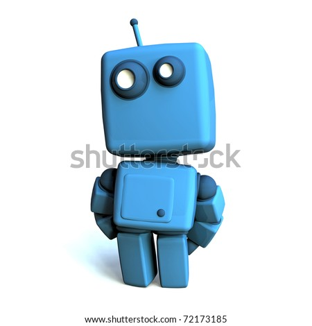 Funny 3D Blue Robot on white background