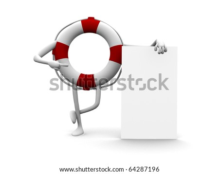 Funny 3d cartoon life buoy with an empty board
