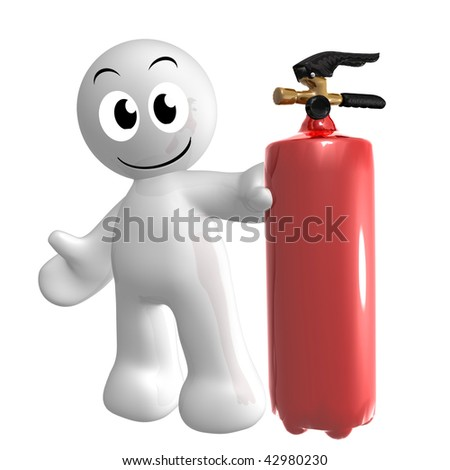 Funny 3d icon figure with fire extinguisher