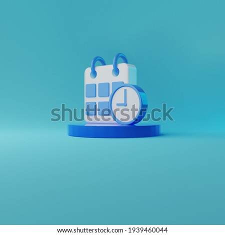 Funny 3D illustration icon of calender and clock on blue background